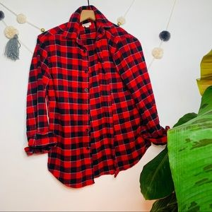 vtg vsco y2k red navy flannel button up popover